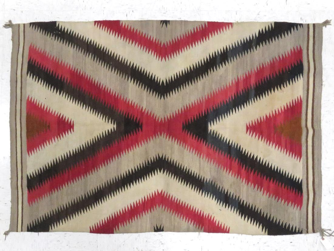 VINTAGE NATIVE AMERICAN EYE DAZZLER RUG. 4' X 6'3""