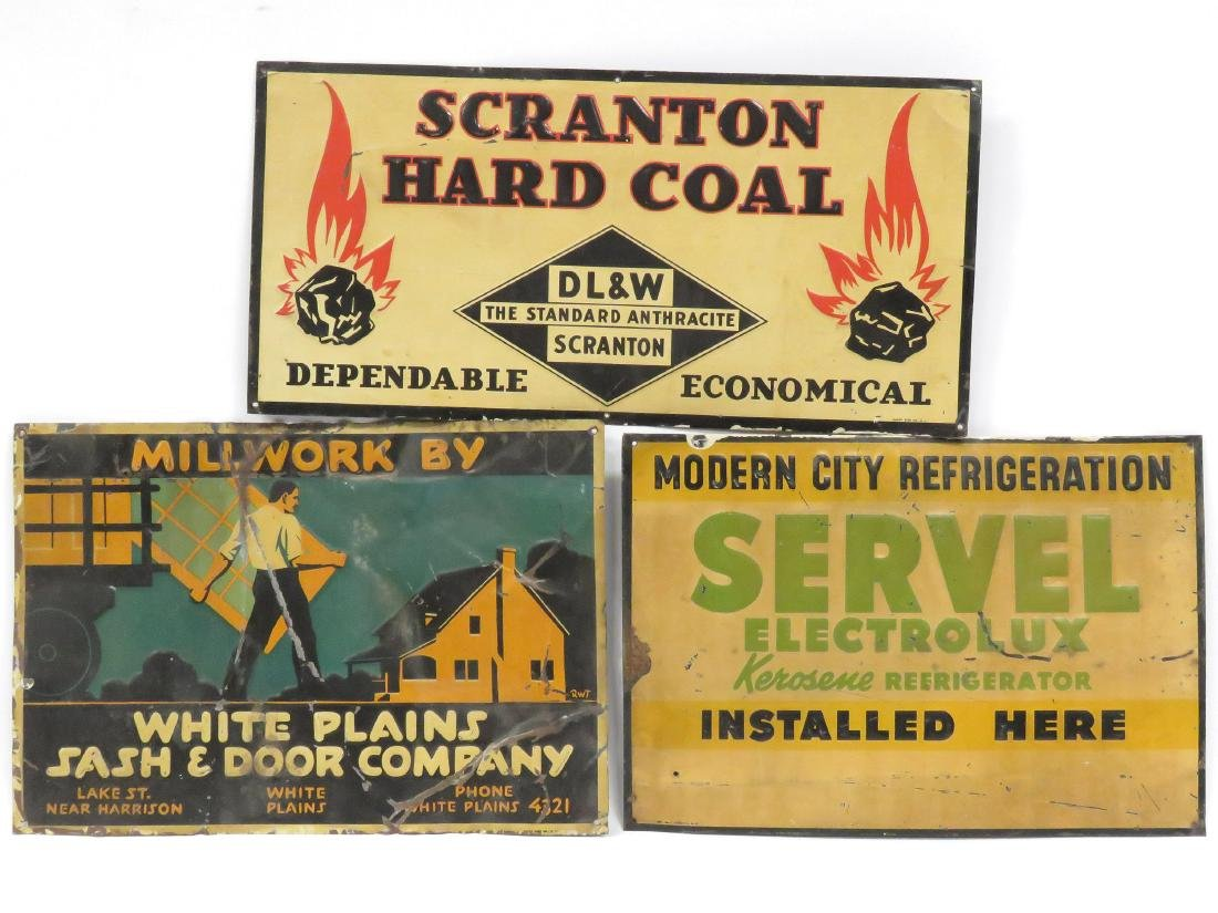 "LOT (3) VINTAGE STAMPED STEEL SIGNS INCLUDING ""SCRANTON"