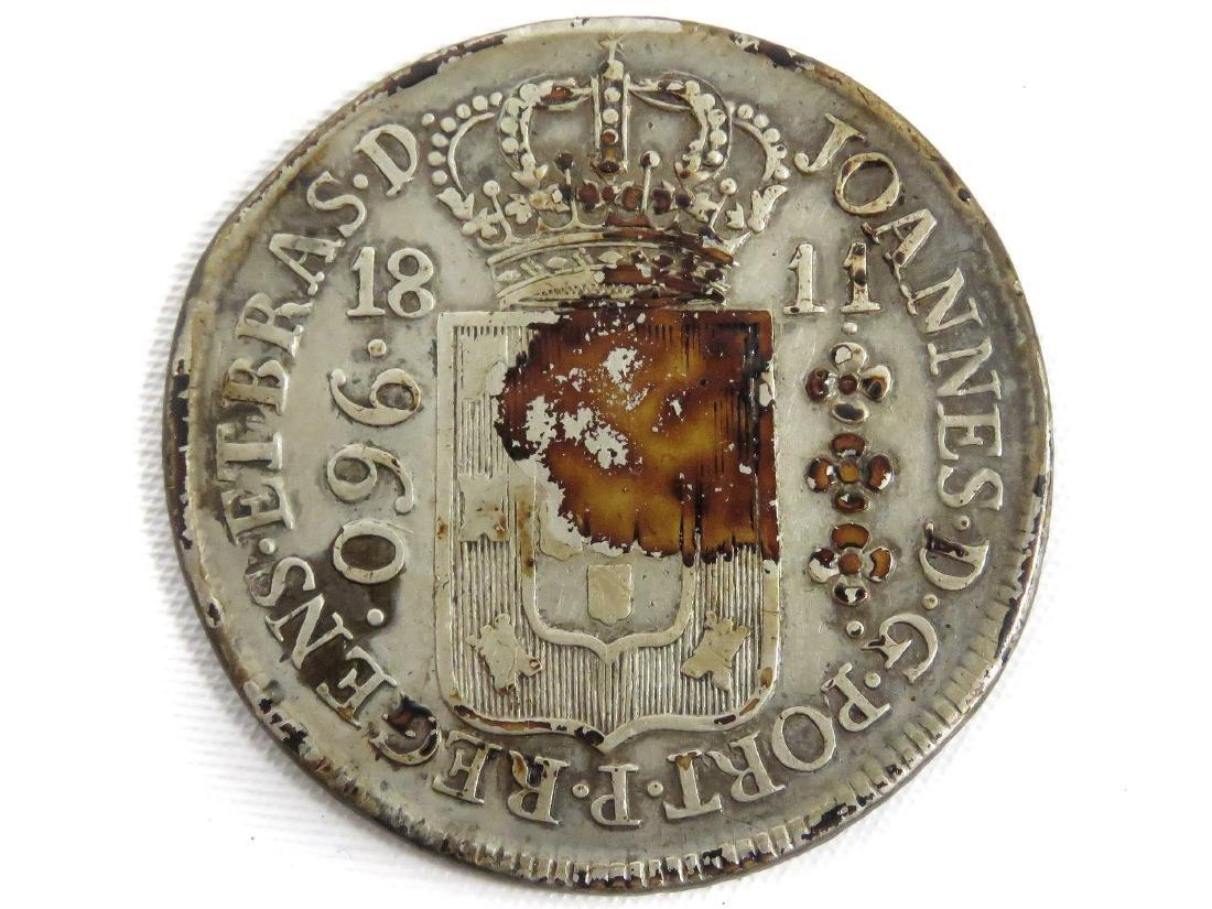 1811 PORTUGAL SILVER 960 REIS COIN