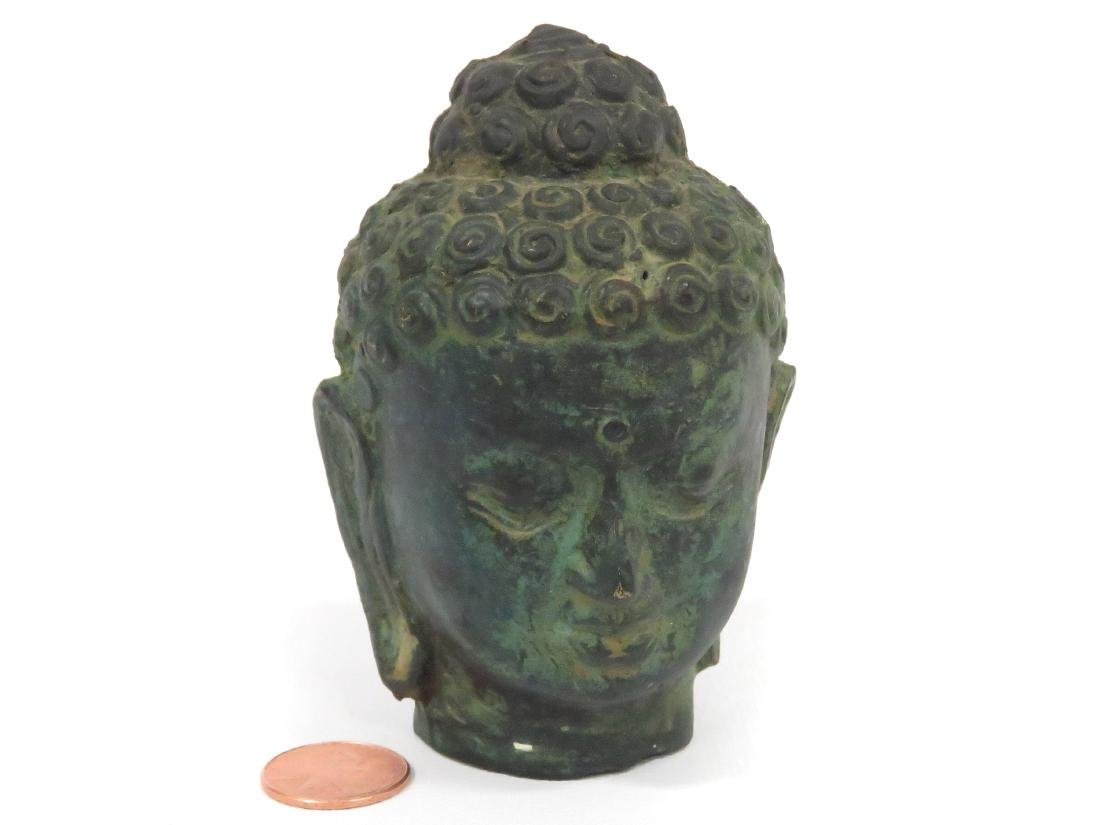 THAI BRONZE HEAD OF BUDDHA. HEIGHT 3 3/4""