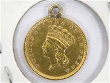 1857 LARGE INDIAN HEAD GOLD DOLLAR COIN (SOLDERED RING)