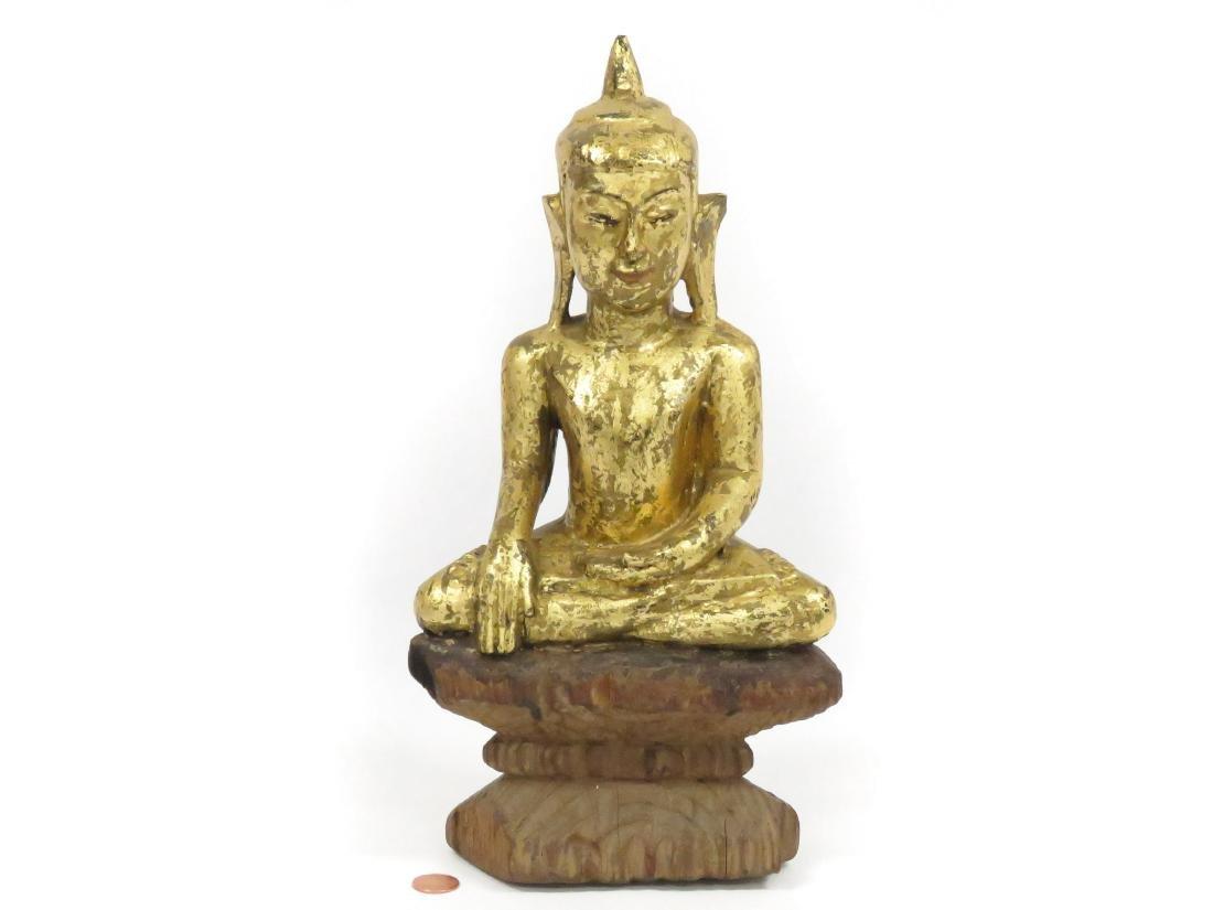 THAI CARVED AND GILT WOOD BUDDHA, MARAVIJAYA. HEIGHT 13