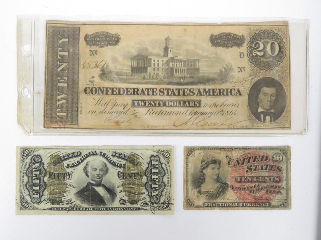 LOT INCLUDING US FRACTIONAL CURRENCY INCLUDING 3RD - 2