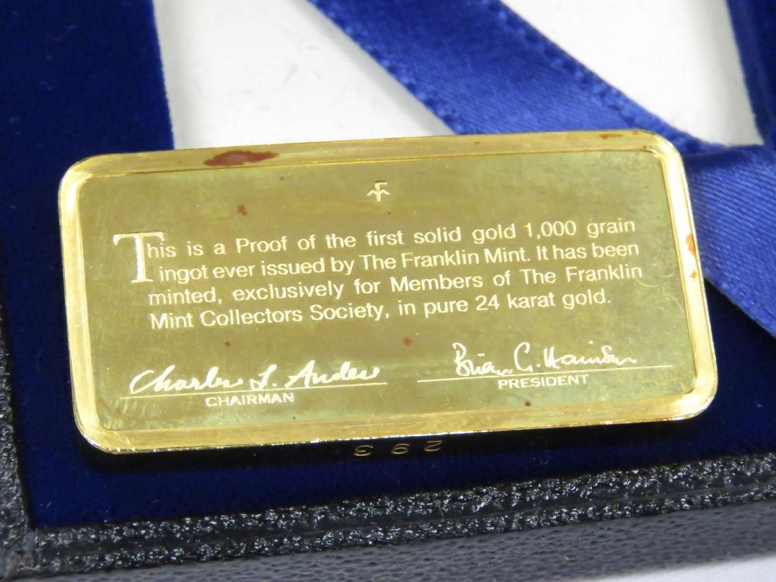 FRANKLIN MINT 1000 GRAIN GOLD INGOT (64.79 GRAMS) - 2