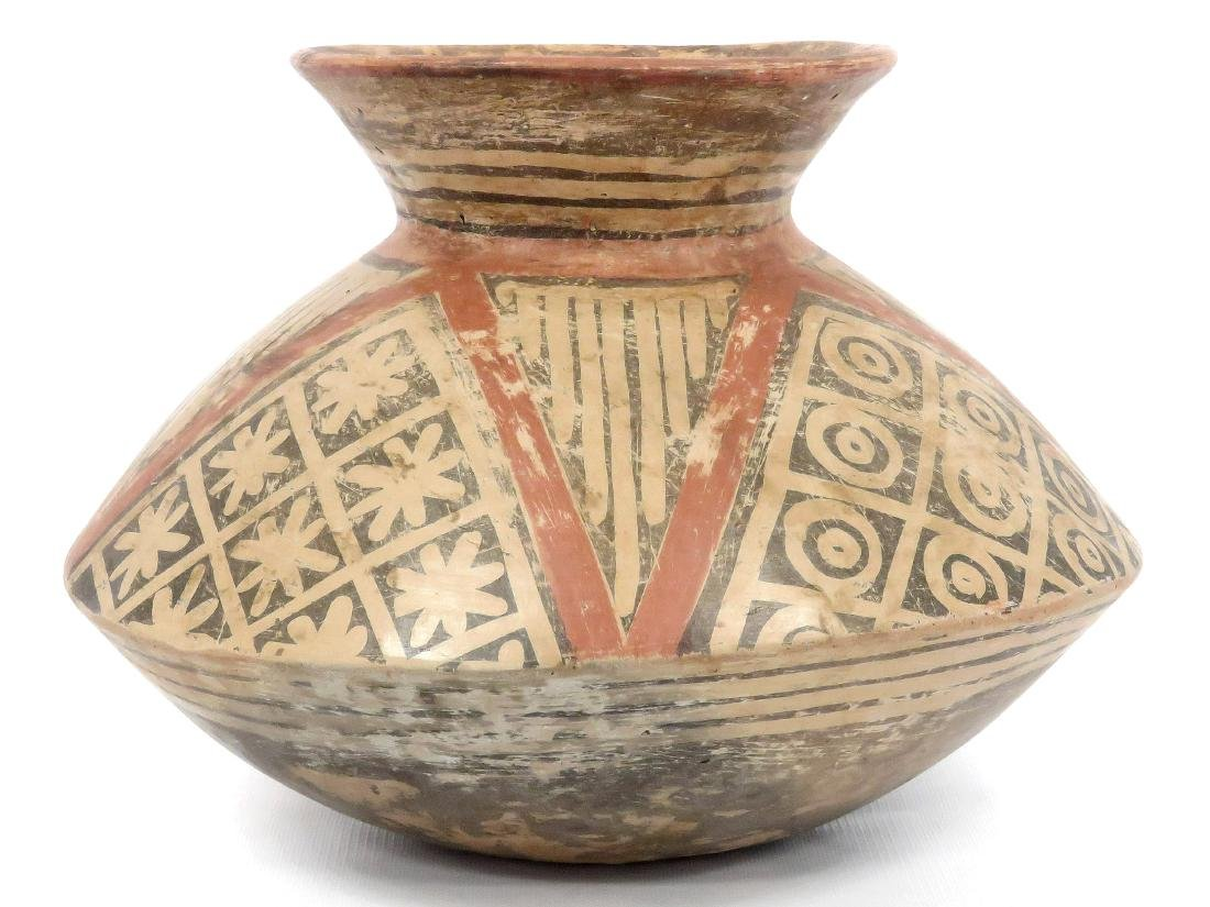 """PRE-COLUMBIAN DECORATED POTTERY VESSEL. HEIGHT 9"""""""