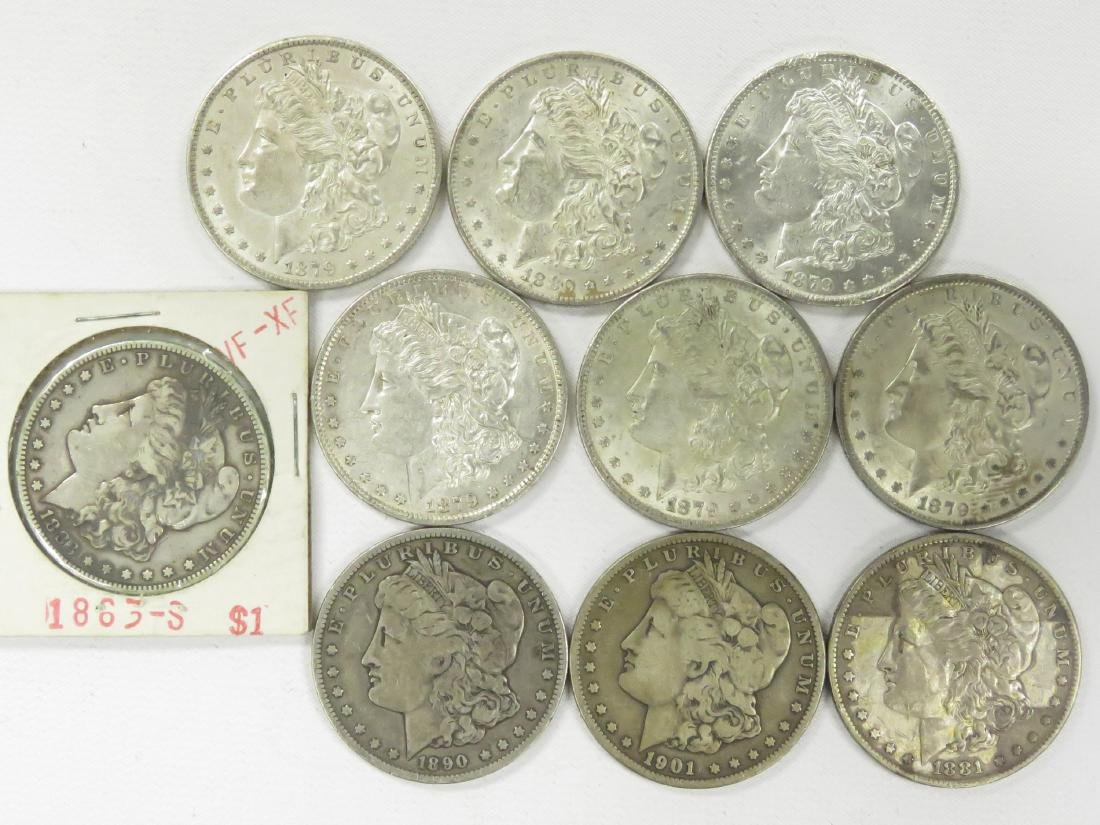 LOT (10) ASSORTED MORGAN SILVER DOLLAR COINS