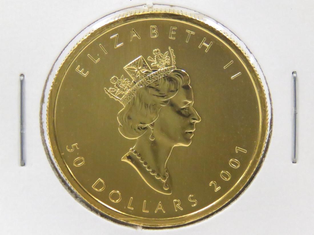 2001 CANADA $50.00 GOLD MAPLE LEAF COIN (1 OZ) (BU) - 2