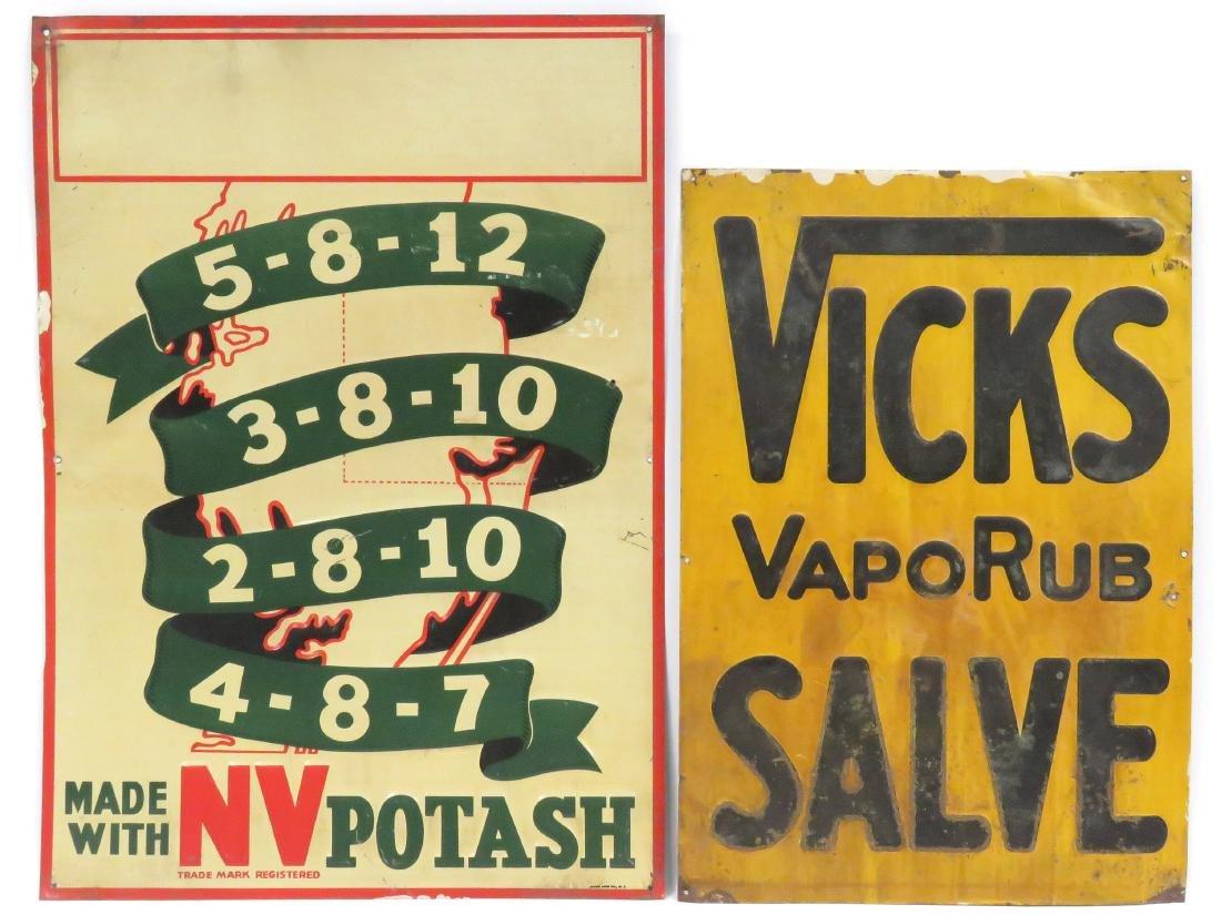 """LOT (2) VINTAGE STAMPED STEEL SIGNS INCLUDING """"VICKS"""