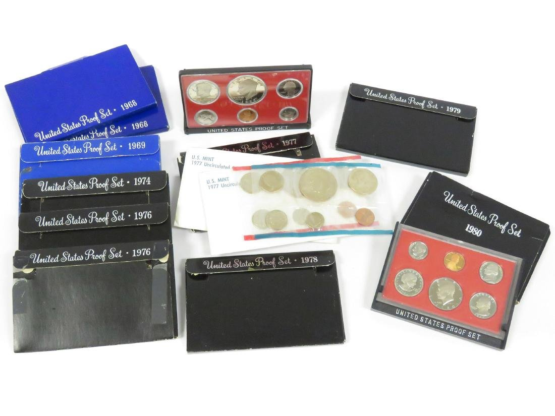 LOT (13) INCLUDING (11) ASSORTED US PROOF SETS,