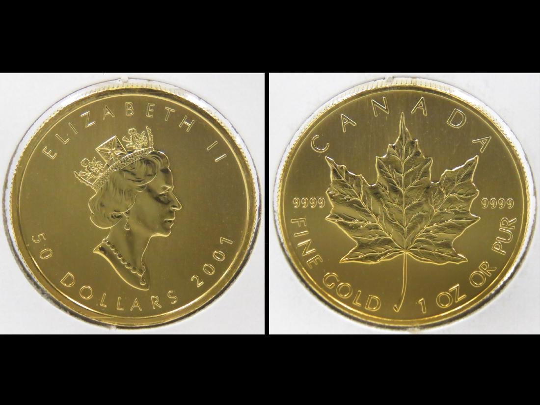 2001 CANADA $50.00 GOLD MAPLE LEAF COIN (1 OZ) (BU)