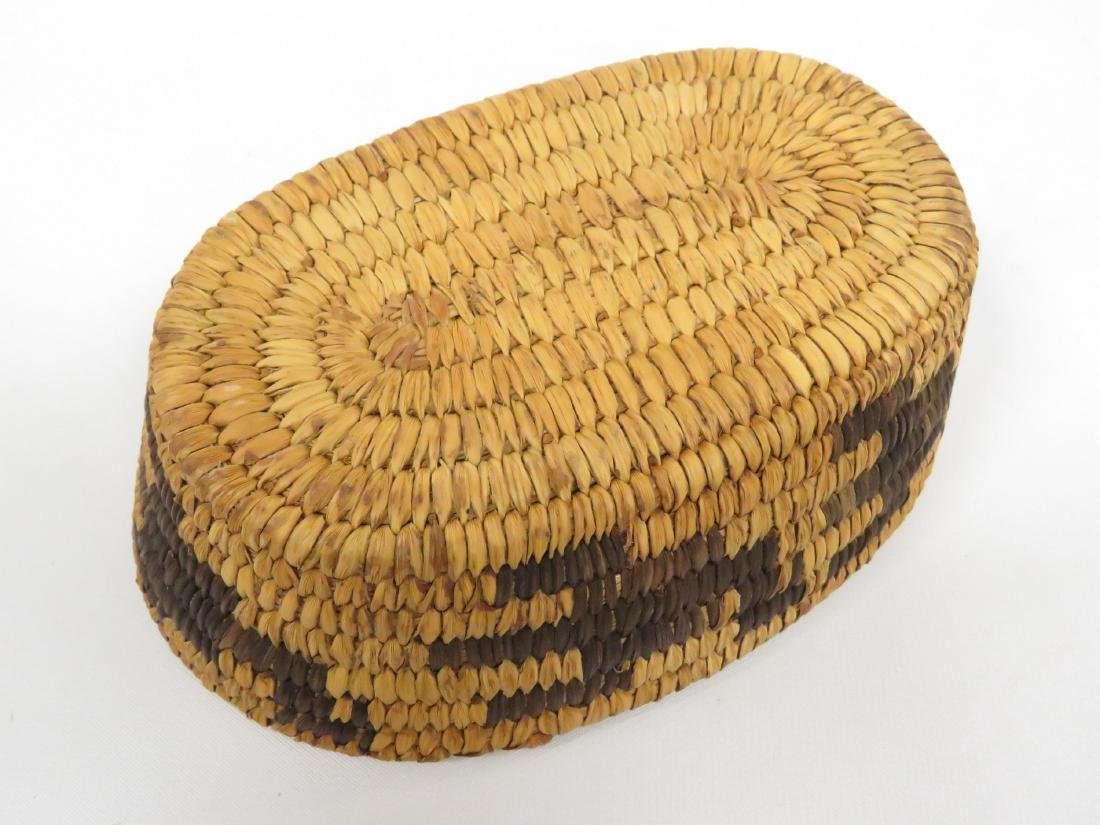 "SW NATIVE AMERICAN WOVEN BASKET. HEIGHT 2 1/4""; 4 1/2 X - 4"