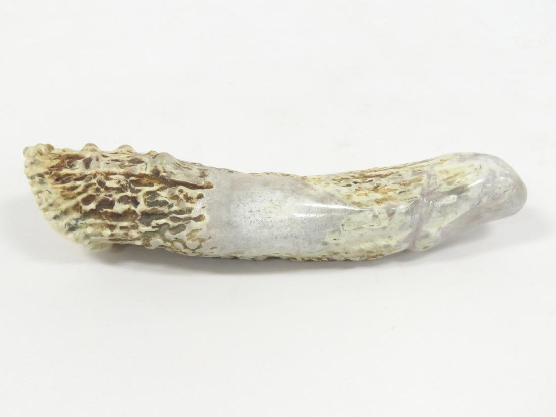 """CARVED STAG ANTLER PHALLUS, """"REMEMBER THE GIVER"""". - 3"""