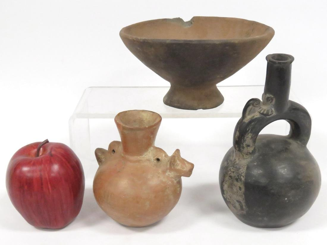 LOT (3) MESO-AMERICAN PRE-COLUMBIAN POTTERY INCLUDING
