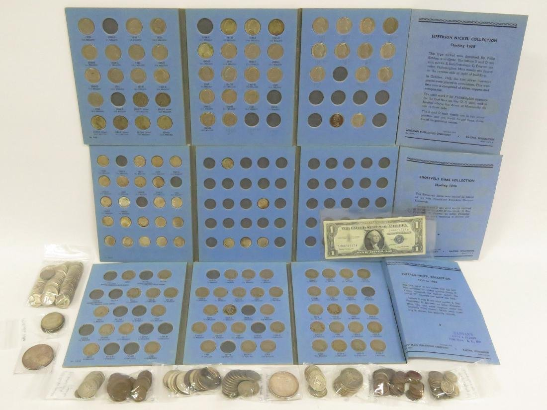 LOT APPROXIMATELY (355) ASSORTED US COINS, CURRENCY AND