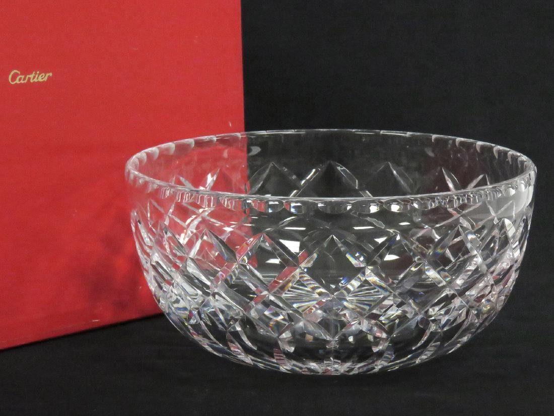 """CARTIER CRYSTAL BOWL, SIGNED. DIAMETER 8"""" (WITH BOX)"""