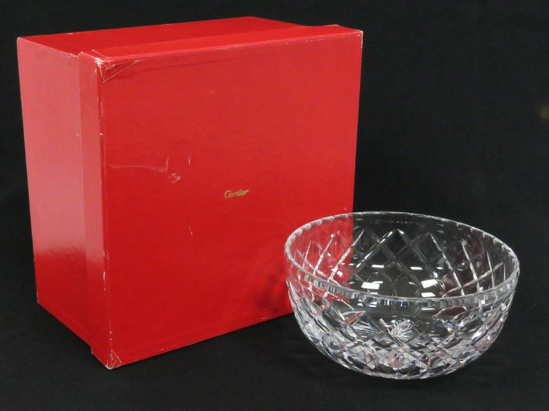 """CARTIER CRYSTAL BOWL, SIGNED. DIAMETER 8"""" (WITH BOX) - 2"""