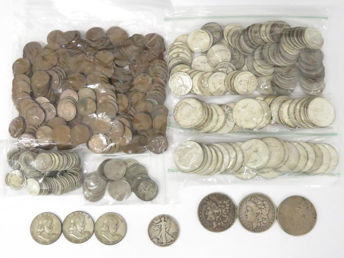 LOT ASSORTED US COINS INCLUDING (3) MORGAN/PEACE SILVER
