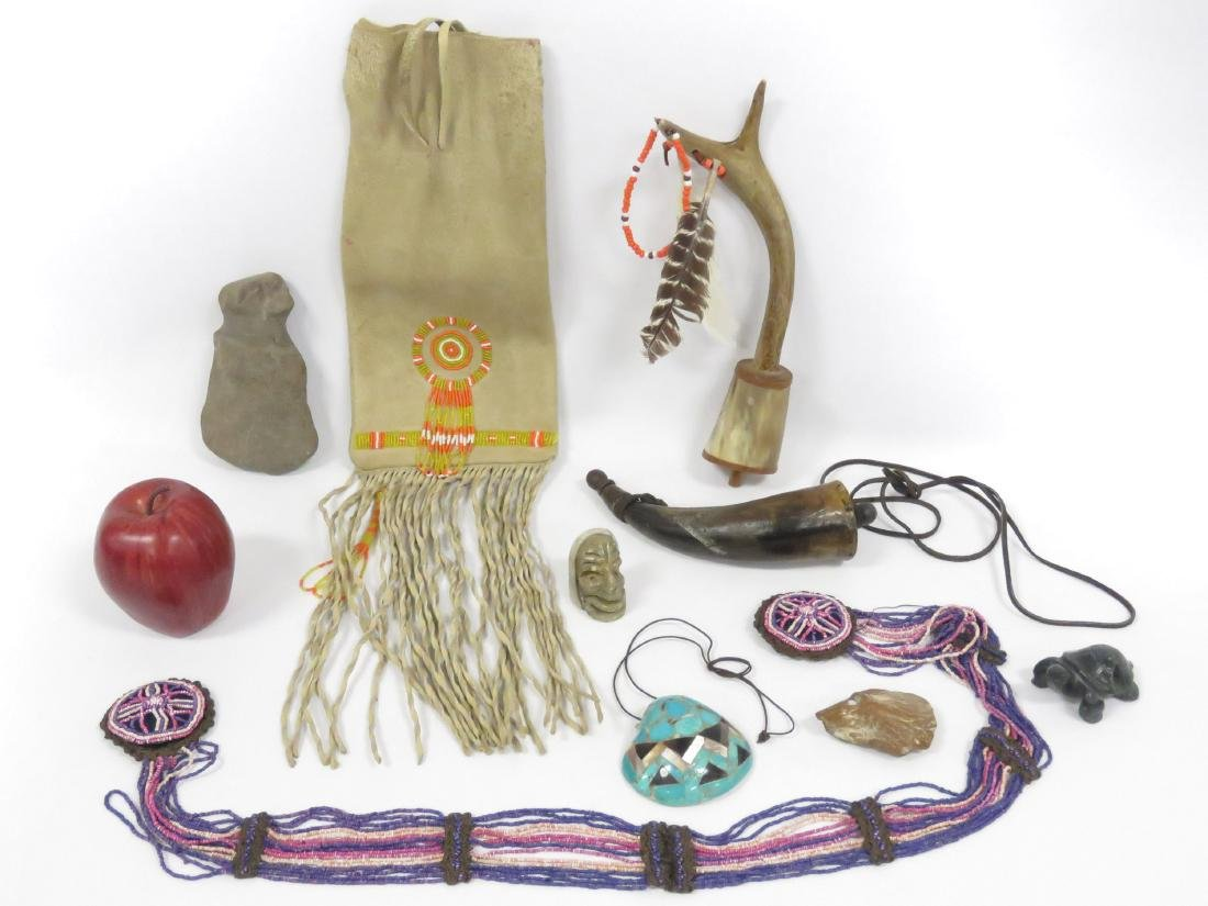 LOT ASSORTED NATIVE AMERICAN INCLUDING CARVED STONE,