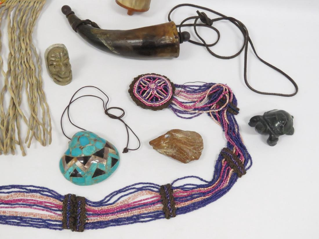 LOT ASSORTED NATIVE AMERICAN INCLUDING CARVED STONE, - 2