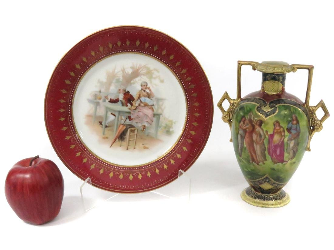 LOT (2) ROYAL VIENNA DECORATED PORCELAIN INCLUDING