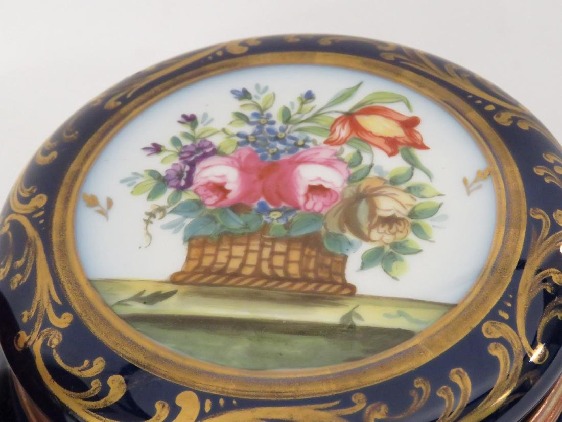 "FRENCH DECORATED PORCELAIN COVERED BOX. HEIGHT 3""; - 2"