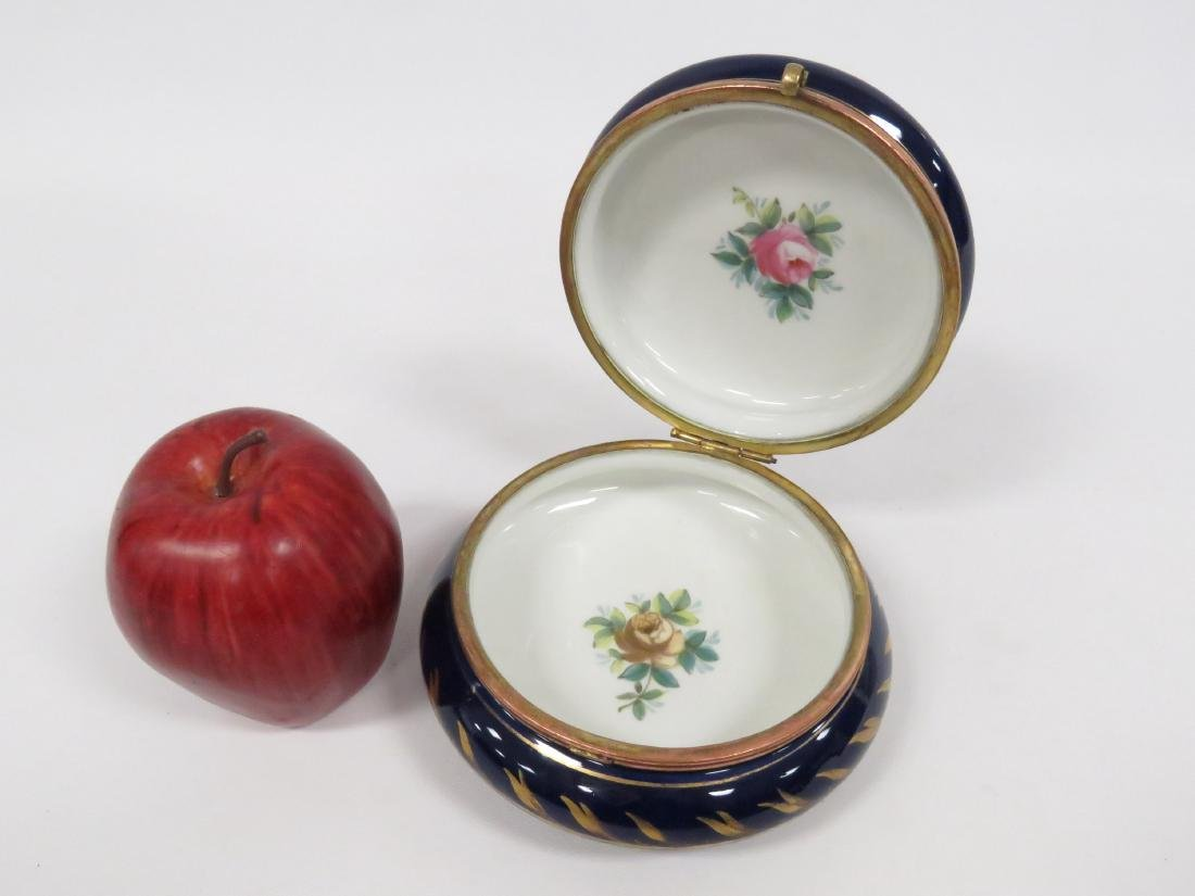 "FRENCH DECORATED PORCELAIN COVERED BOX. HEIGHT 3""; - 3"