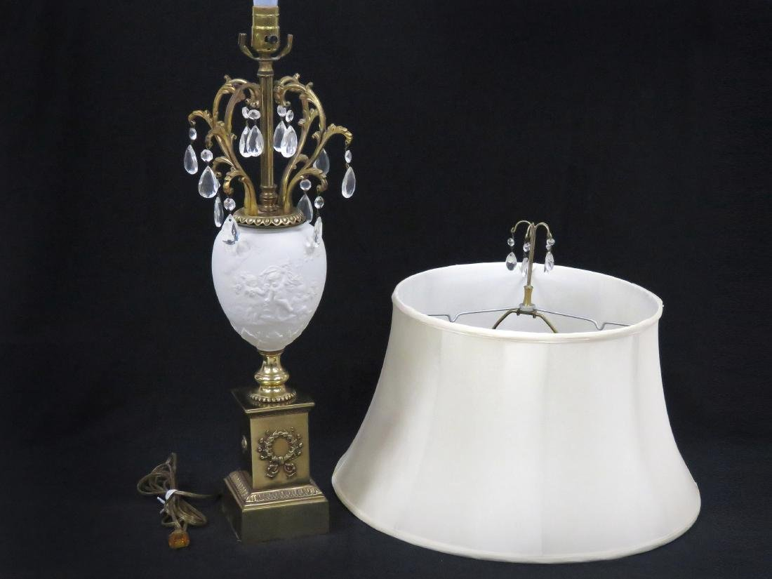 BAVARIA GERMANY BISQUE PORCELAIN TABLE LAMP WITH BRASS