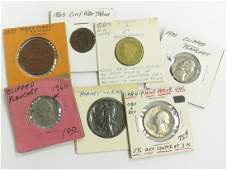 LOT (7) US COINS/TOKENS INCLUDING 1837 HARD TIMES TOKEN;