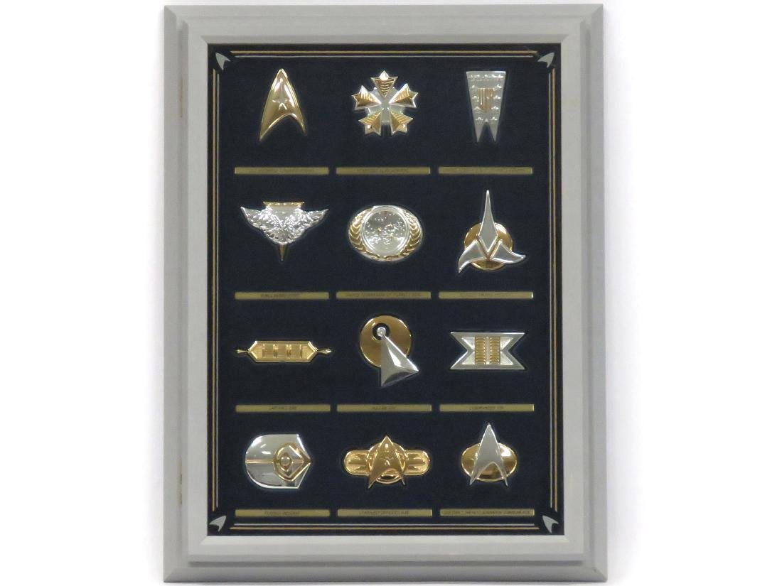 SET (12) STAR TREK STERLING SILVER INSIGNIA BADGES WITH