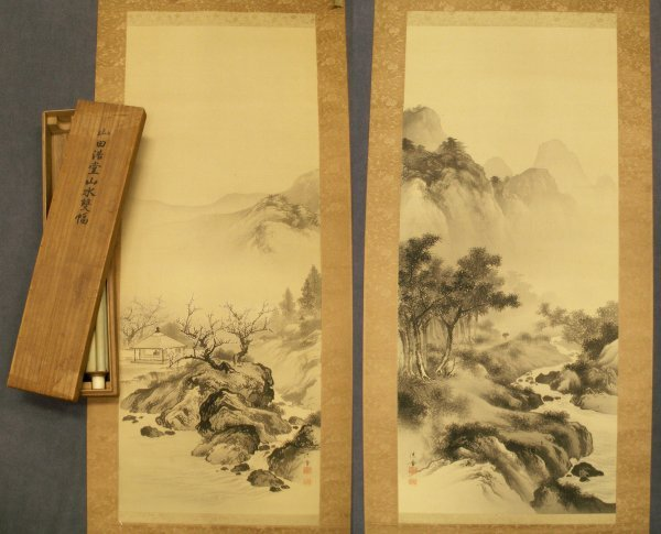 1004: PAIR JAPANESE WATERCOLOR ON SILK SCROLL PAINTINGS