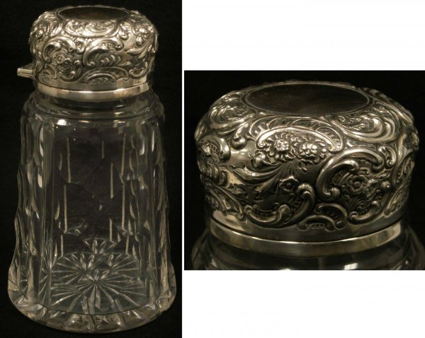 1005: STERLING/CUT CRYSTAL DRESSER JAR