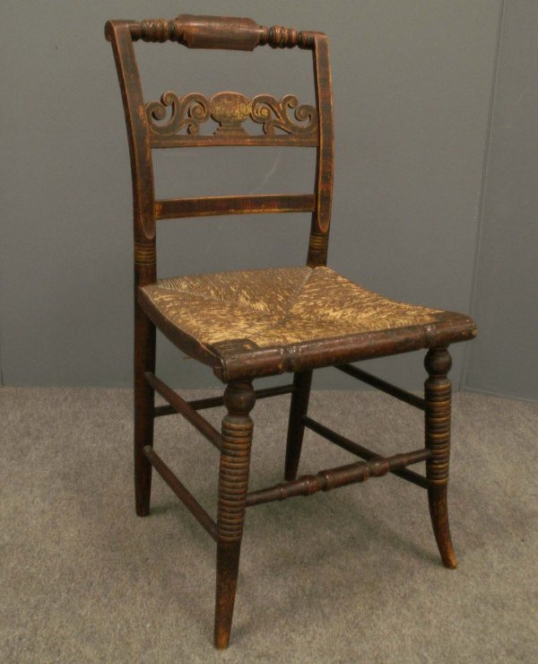 1007: PAIR GRAINED & PAINTED RUSH-SEAT SIDE CHAIRS