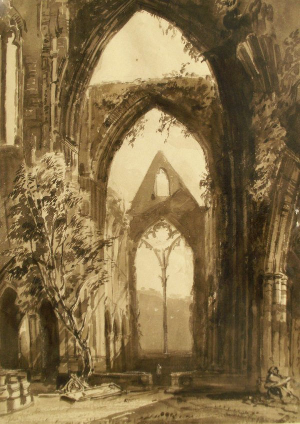 "1008: INK/WASH, ""TINTERN ABBEY, WALES"", D. ROBERTS"