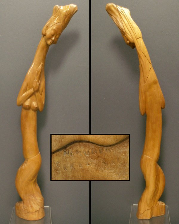 1011: CARVED FRUITWOOD DANCING FIGURE, SIGNED RUNDA