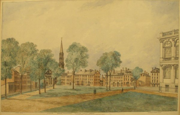 "1012: INK/WATERCOLOR, ""CITY HALL PARK AND VICINITY 1815"