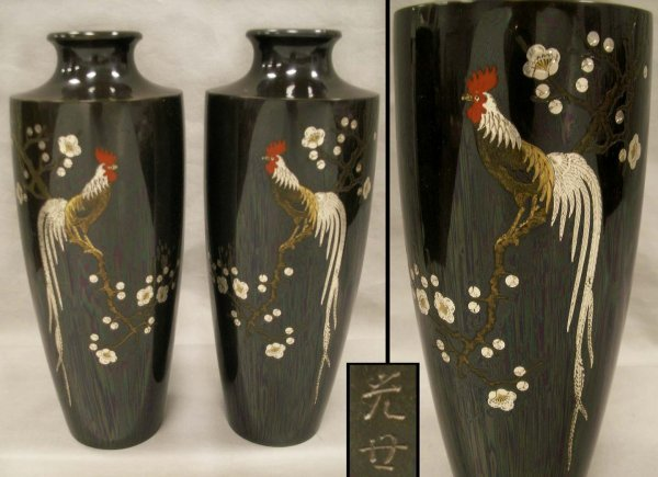 1017: PAIR JAPANESE BRONZE VASES