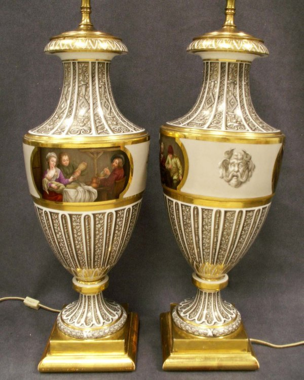 1137: PAIR FRENCH DECORATED/GILT PORCELAIN VASES