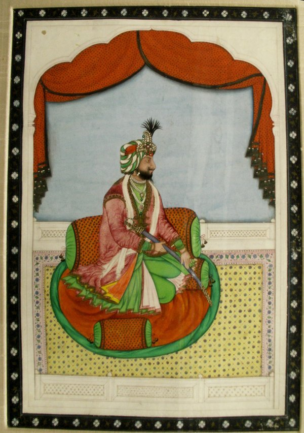 1312: INDIAN MINIATURE WATERCOLOR, A SEATED RAJA