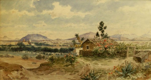 "1316: WATERCOLOR, ""VALLEY OF MEXICO"", SIGNED AUGUST LOH"