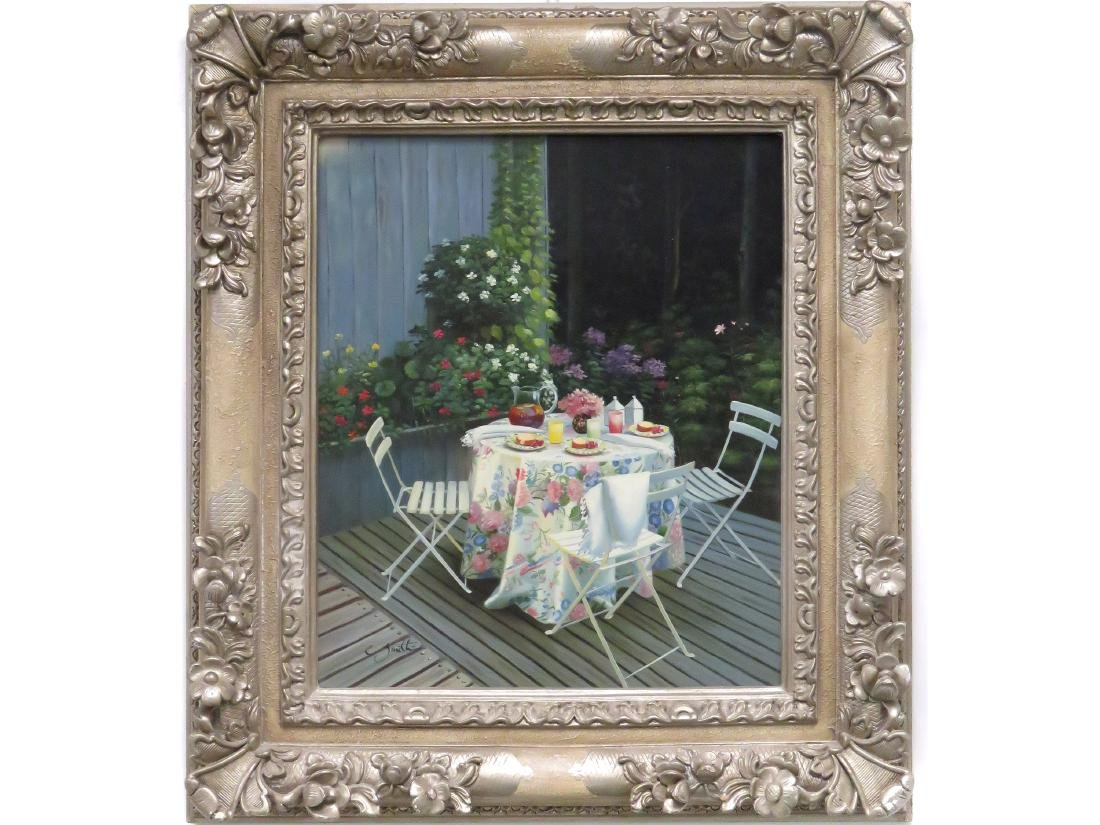 AMERICAN SCHOOL (20TH CENTURY), OIL ON CANVAS, GARDEN