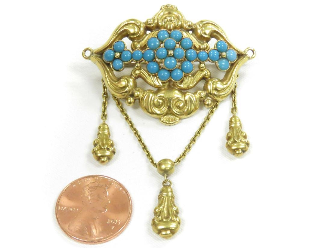 """ANTIQUE YELLOW GOLD (TESTS 14K) BROOCH. LENGTH 2"""";"""