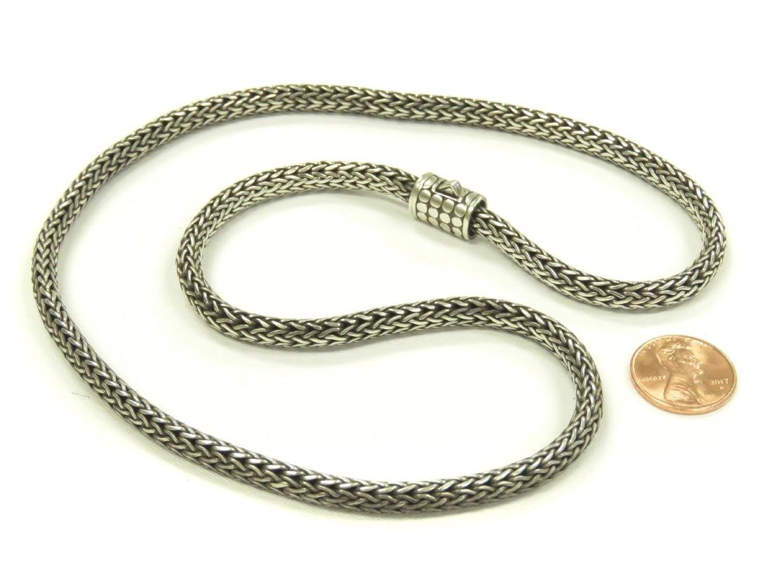 "SILVER (TEST) WOVEN SNAKE LINK NECKLACE. LENGTH 22 1/2"";"