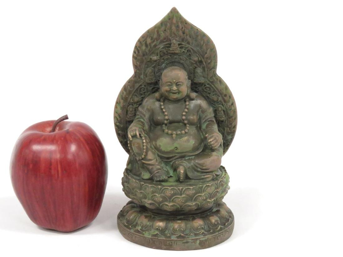 SINO-TIBETAN BRONZE/COPPER ALLOY SEATED BUDDHA, SIGNED.