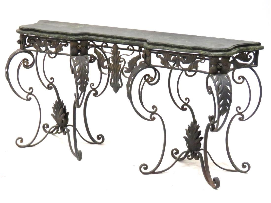 MANNER OF OSCAR BACH, WROUGHT IRON AND MARBLE CONSOLE