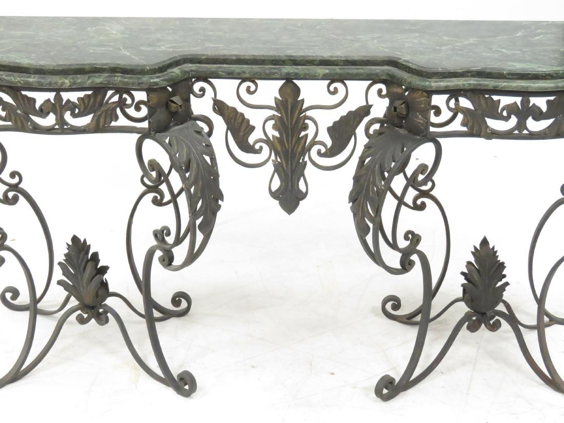 MANNER OF OSCAR BACH, WROUGHT IRON AND MARBLE CONSOLE - 2