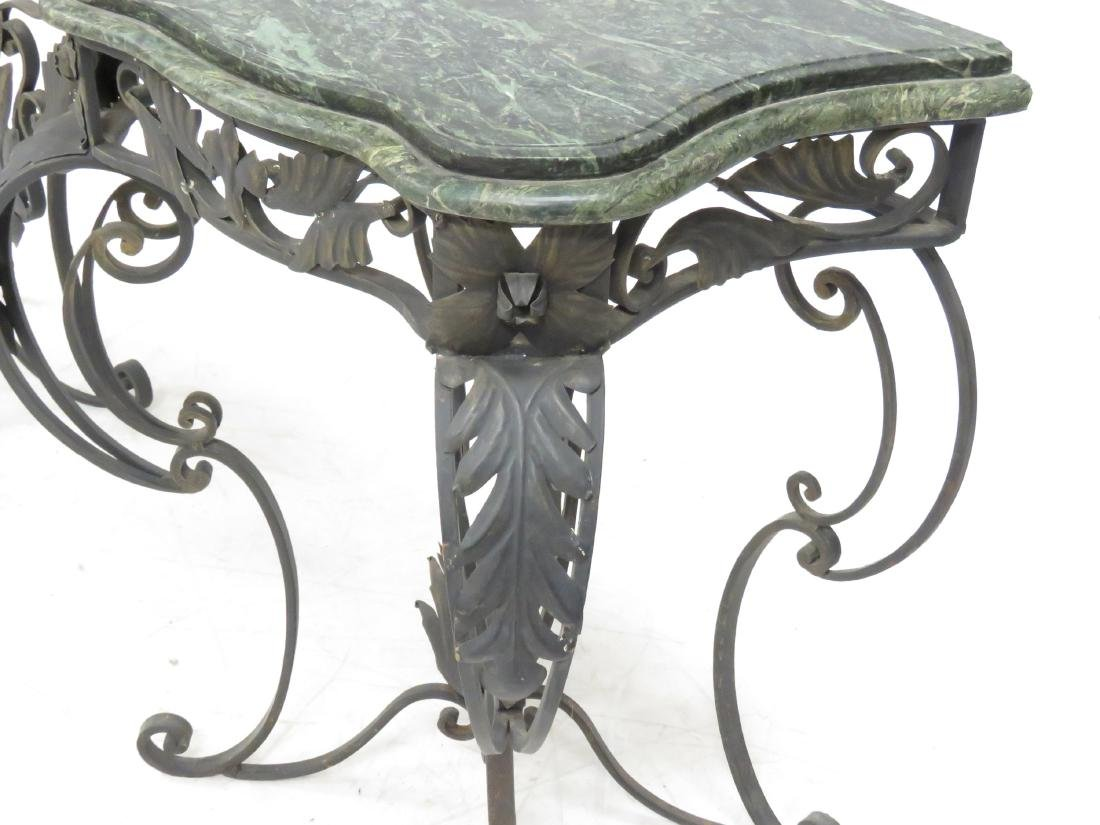MANNER OF OSCAR BACH, WROUGHT IRON AND MARBLE CONSOLE - 3