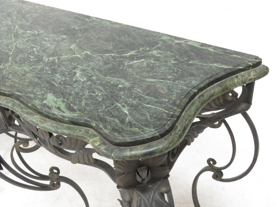 MANNER OF OSCAR BACH, WROUGHT IRON AND MARBLE CONSOLE - 4