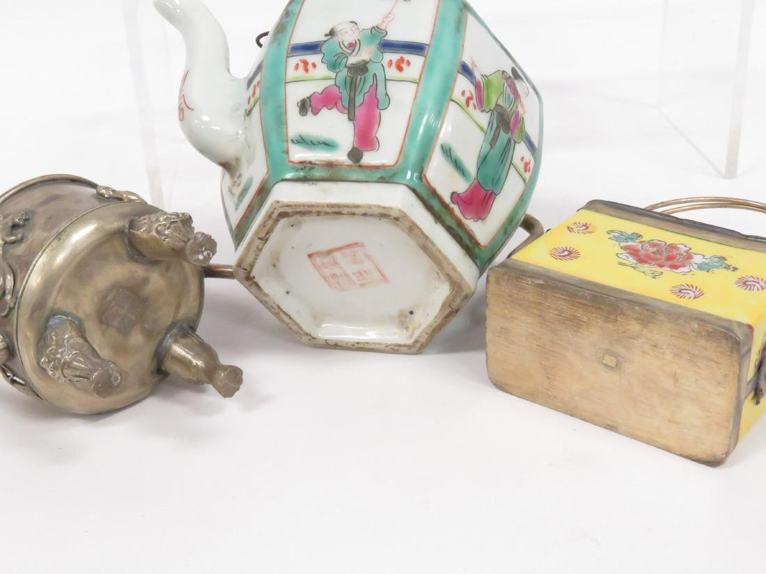 LOT (3) ASSORTED CHINESE TEA POTS INCLUDING (2) FAMILLE - 3