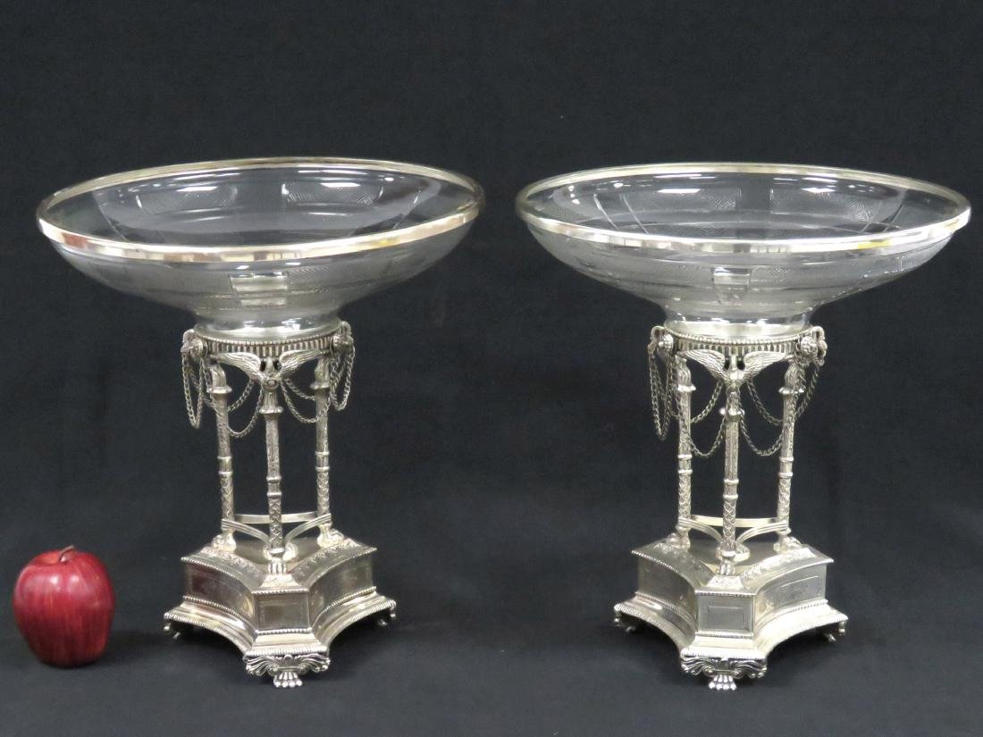 PAIR REGENCY STYLE SILVERED BRASS AND GLASS CENTER