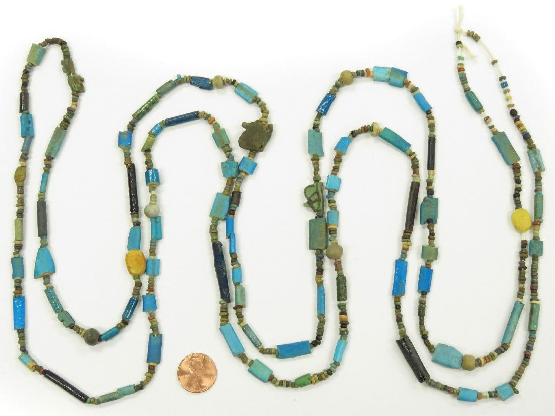 EGYPTIAN FAIENCE MUMMY BEAD NECKLACE. LENGTH 80""